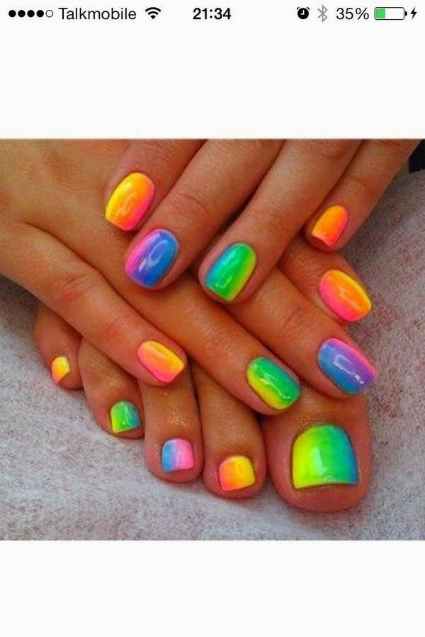 Blocked Rainbow Nail Art Design