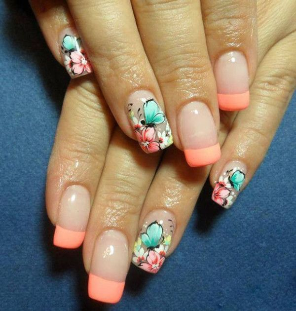 Butterfly Nail Design With Flowers