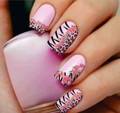 Leopard Nail Art Design With Flower Prints