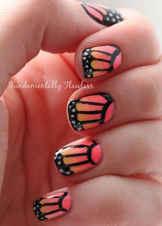 Orange Butterfly Nail Design