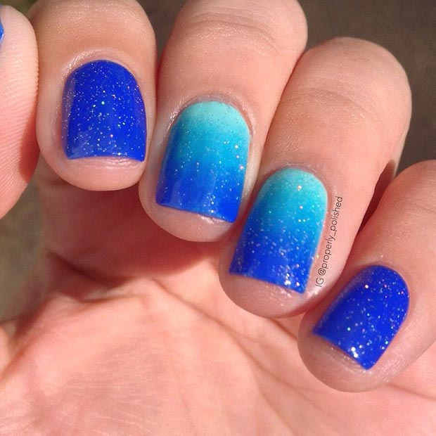 Sparkly Blue Ombre Nails Nail Art Ideas For Short