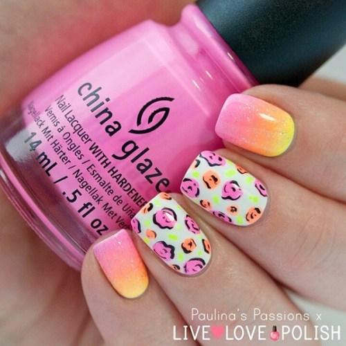 Colorful Animal Print Nail Design