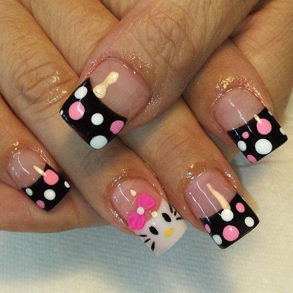 French Tip O Kitty Nail Design