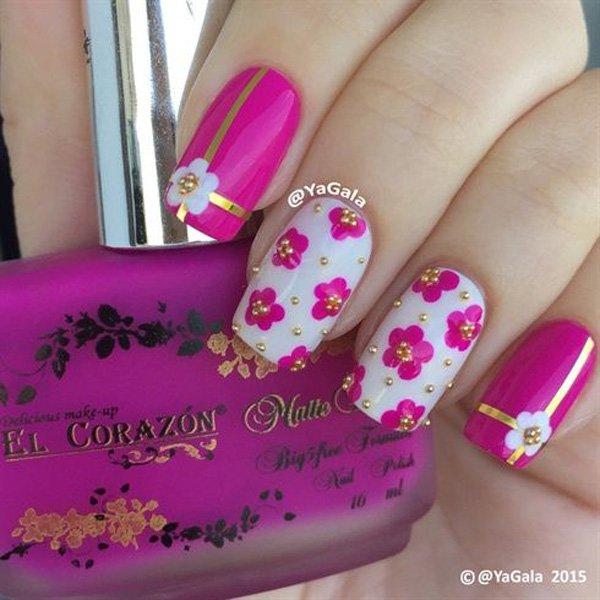 Pink Metallic Nail Design