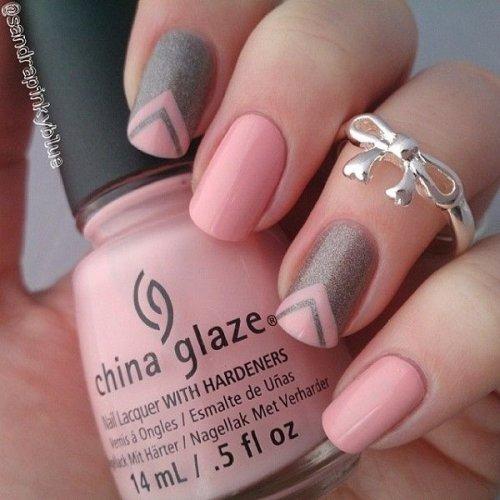 Pink V-Shape Nail Design