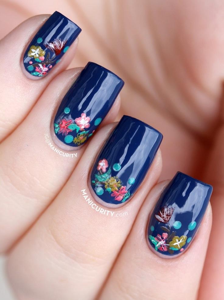 Dark Blue Flowers With Tiny