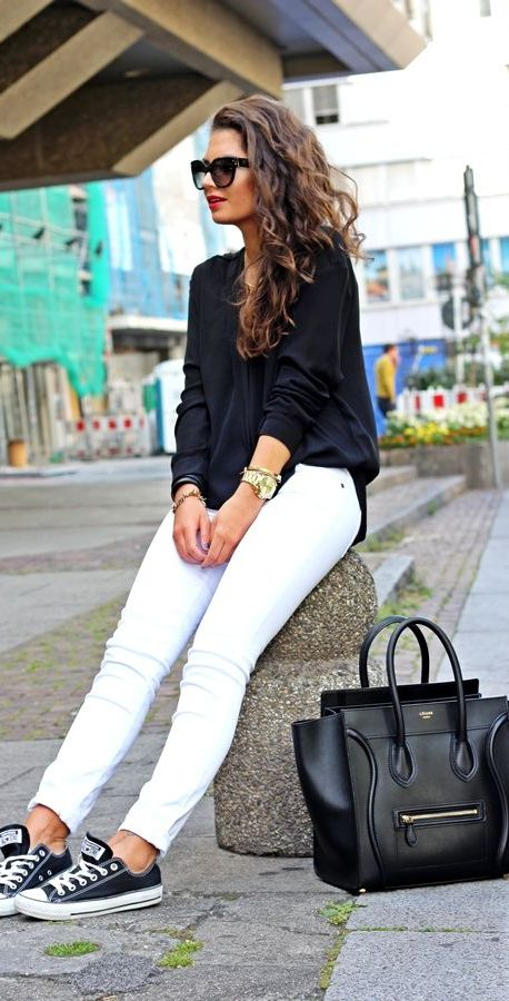 20 Super Casual Styles with Sneakers |Black and White Outfit
