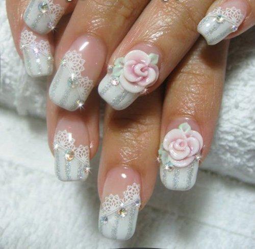 Embellished Wedding Nail Design
