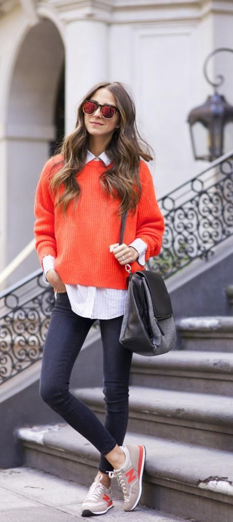 20 Super Casual Styles with Sneakers |Orange Sweater and Sneakers