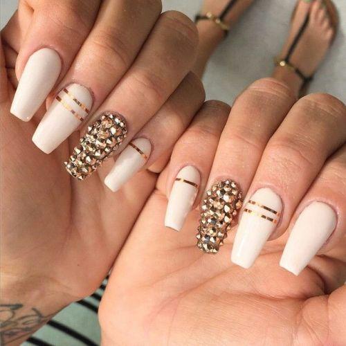 Rose Quartz Wedding Nail Design