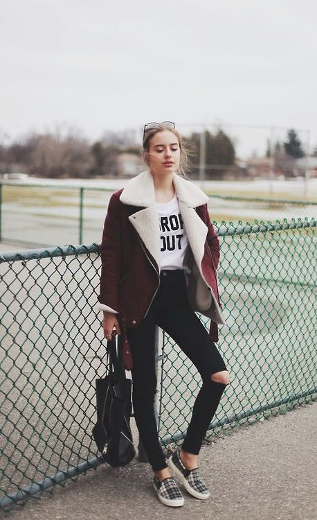 20 Super Casual Styles with Sneakers |Shearling Coat and Tartan Sneakers