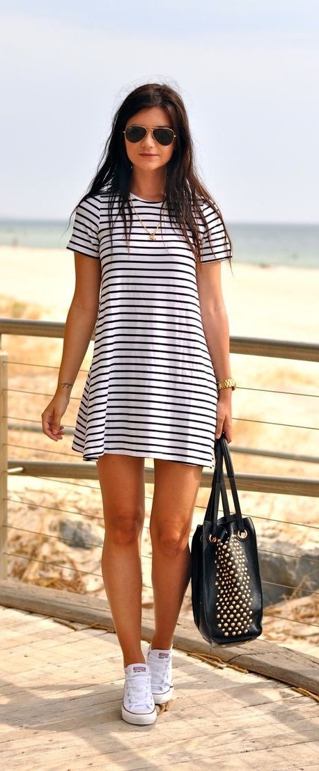 20 Super Casual Styles with Sneakers |Sneakers and a Dress