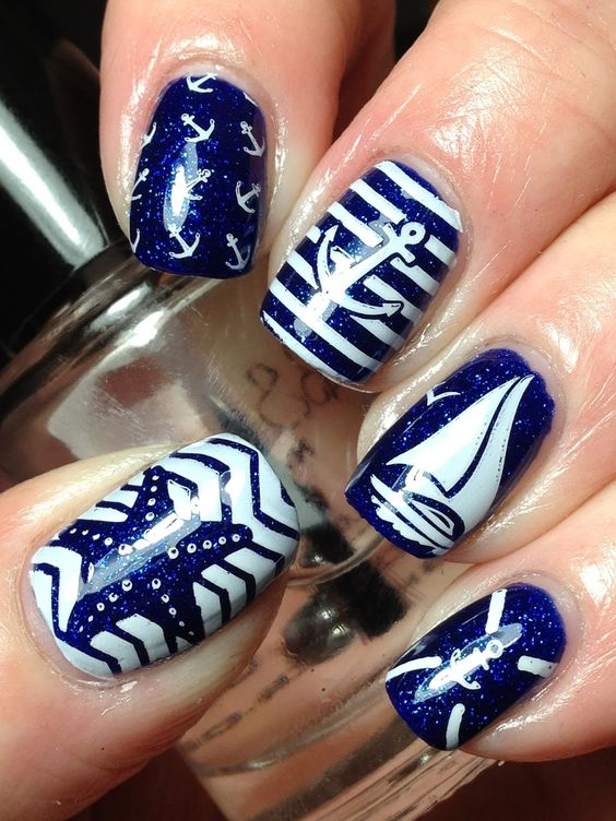 20 Nautical Themed Nail Arts You Will Like Pretty Designs