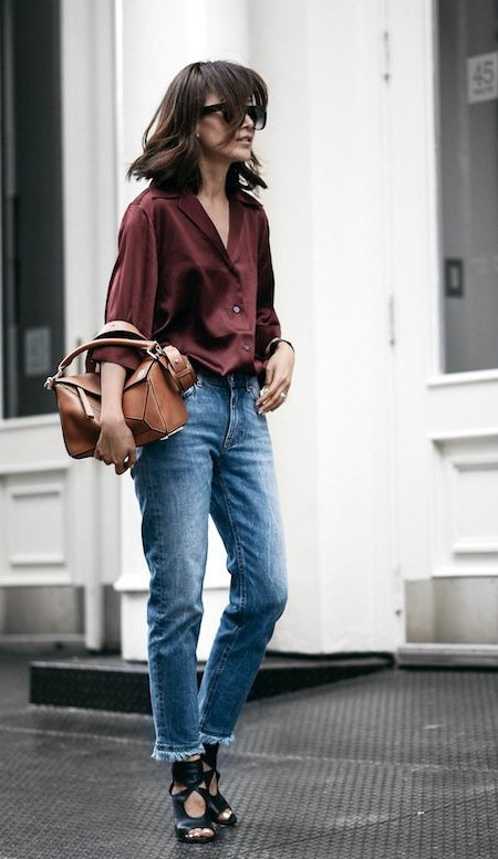 Burgundy Shirt and Denim Jeans