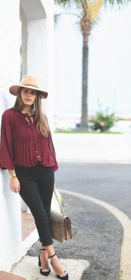 Burgundy Top and Black Pants