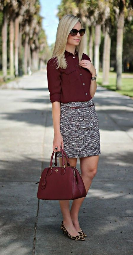 Burgundy Top and Burgundy Bag