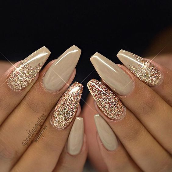 Beautiful White Glitter Nails For Wedding