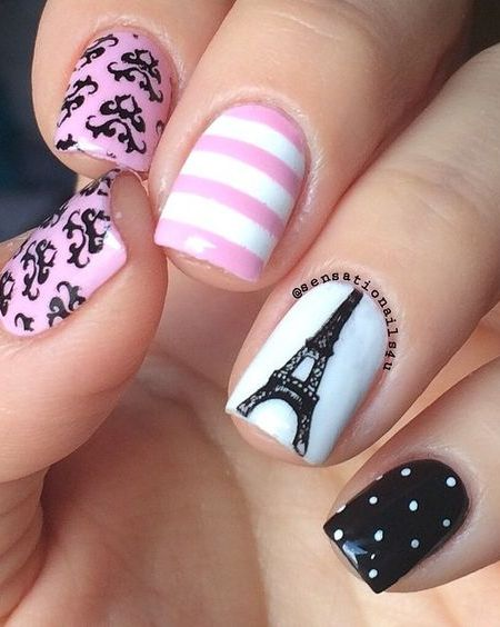 20 Nail Designs To Paint Eiffel Tower Flawlessend
