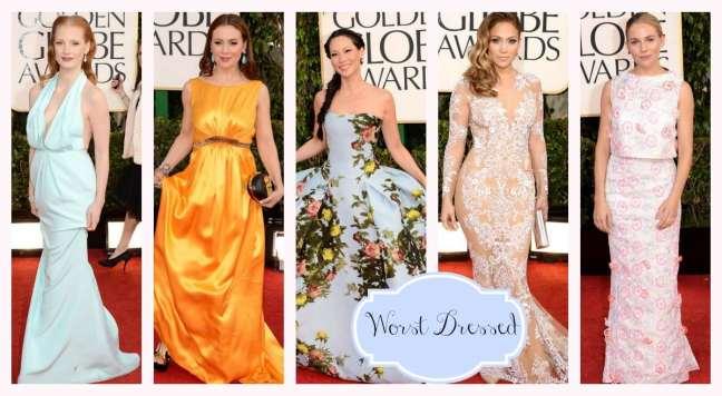 Golden Globes Worst Dressed Alyssa, Lucy, Jessica, Jennifer, Sienna