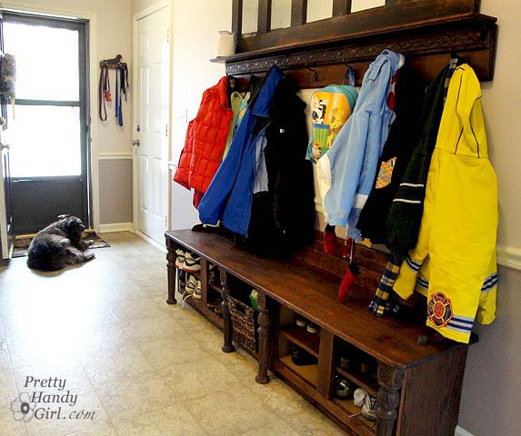 Building A Shoe Storage Bench From Kitchen Cabinets