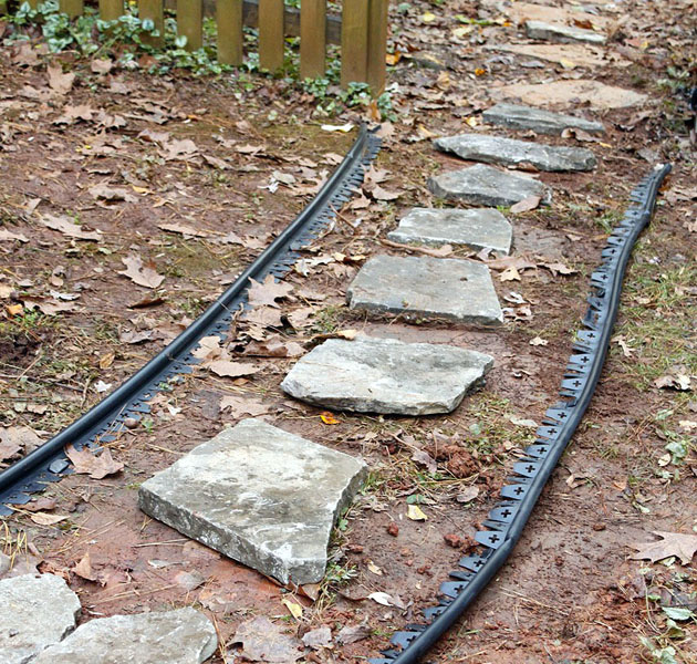 layout stones inside edging