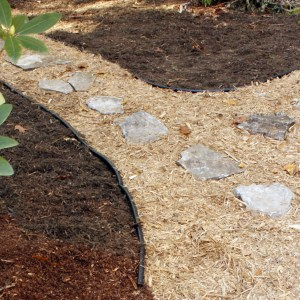 beautiful two color mulch pathway