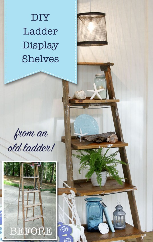 DIY Ladder Display Shelves
