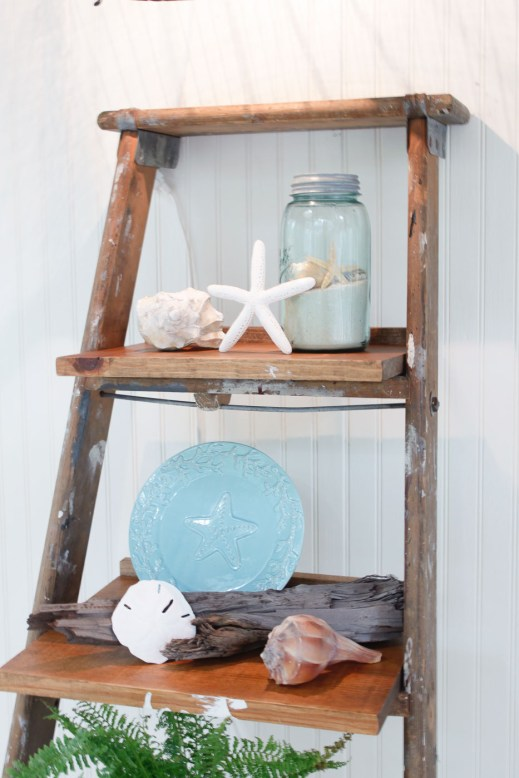 close up ladder shelves decorated with coastal decor