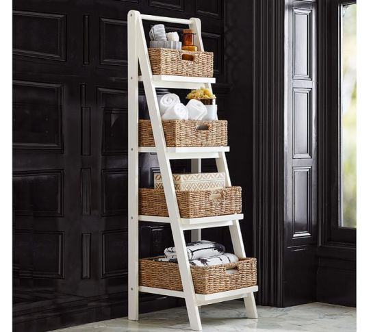 pottery barn ladder display shelves