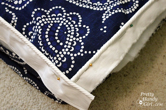 sewing bench cushion corners