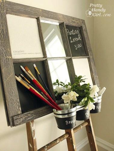artist's inspiration chalkboard bulletin board window