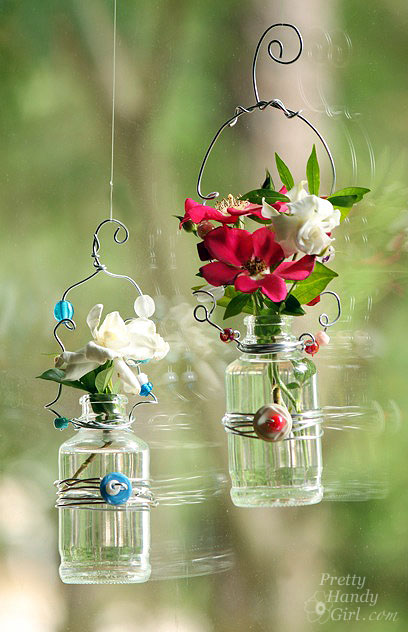 hanging bead flower vases