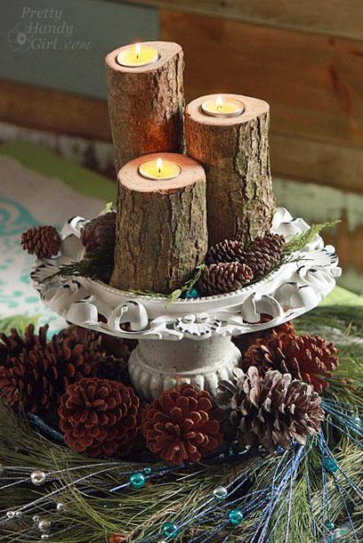 Log Tea Light Pillar Candles