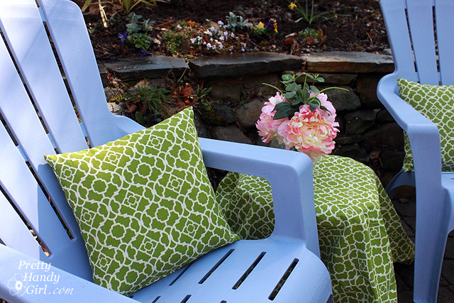 recover outdoor pillows using curtains