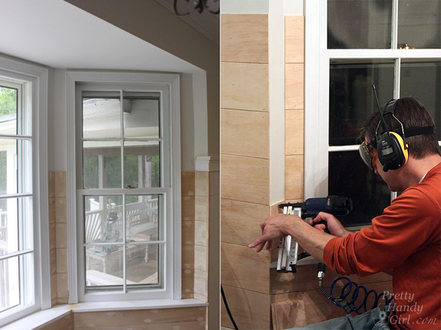 add planks above window seat
