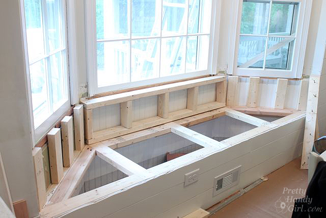 framing out back bench seat bay window