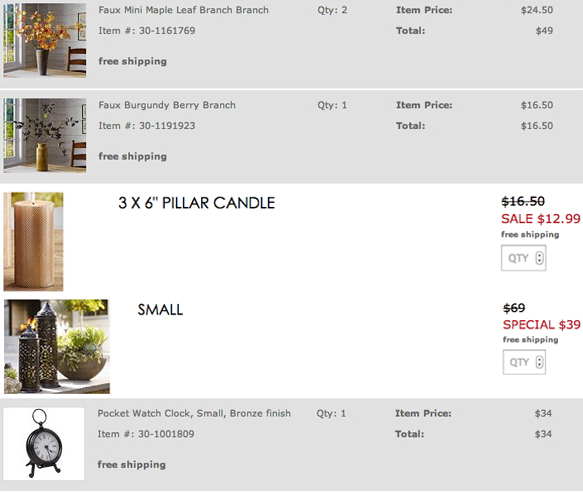 Pottery Barn order