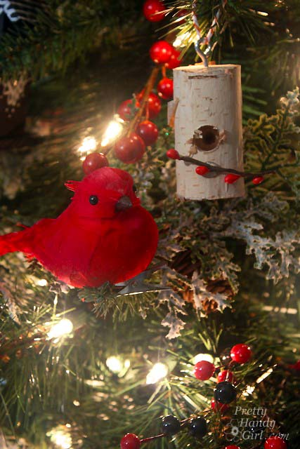 Birch Log Birdhouse on Christmas Tree   Pretty Handy Girl