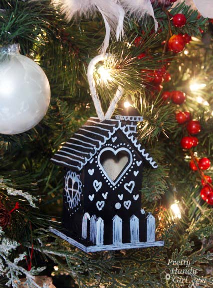 Chalkboard Birdhouse on Christmas Tree | Pretty Handy Girl