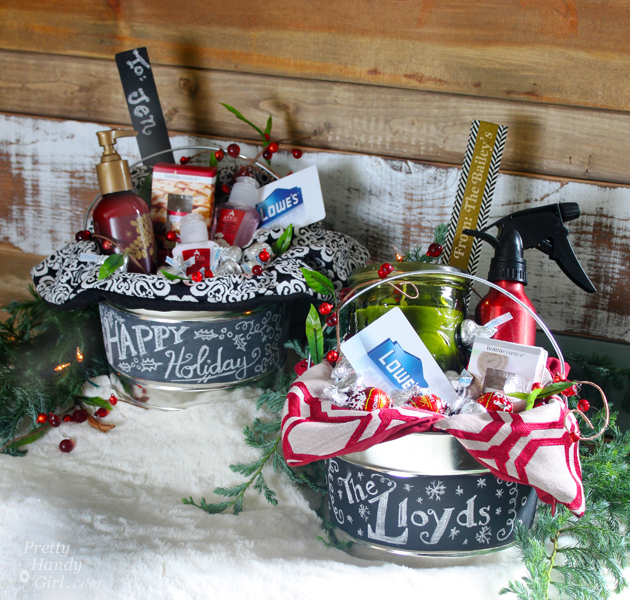 chalkboard paint buckets for gift giving