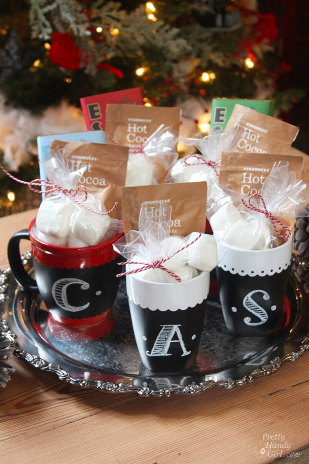 Gifts from your Kitchen - chalkboard painted cocoa mugs.