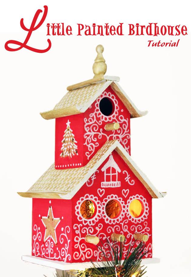 Painted Birdhouse Tree Topper Tutorial | Pretty Handy Girl