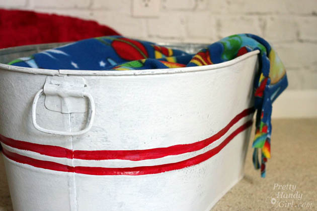 Galvanized Tub Storage Bench for Kids | Pretty Handy Girl