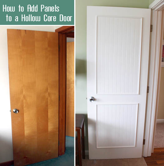 Left: plain, brown door. Right: white, 2 beadboard trimmed panel, door