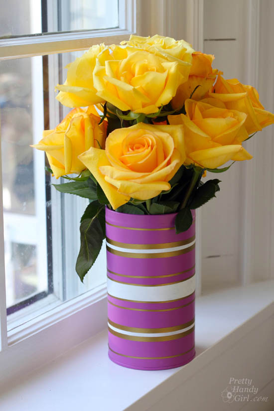 Radiant Orchid Vases from Recycled Cans & Jars | #upcycling | Pretty Handy Girl