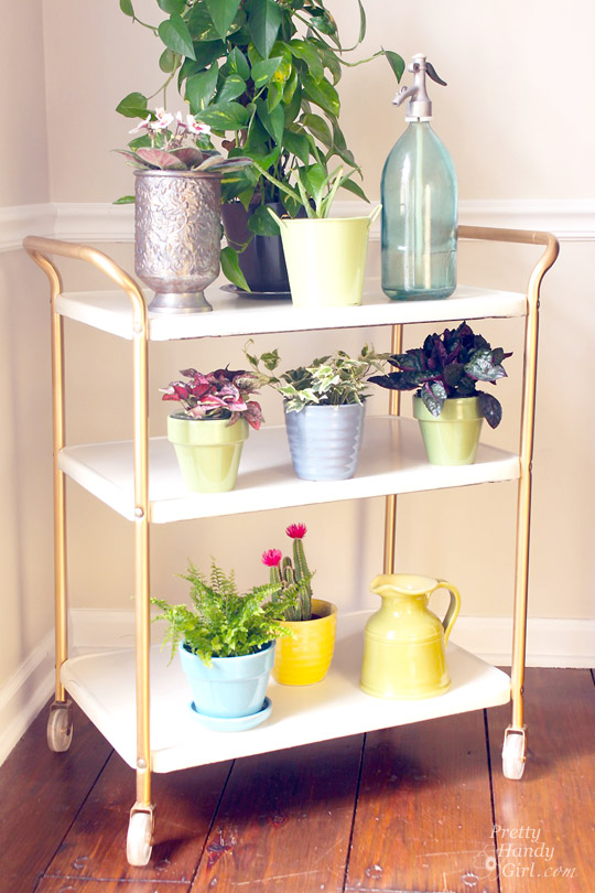 Upcycled Metal Rolling Cart Plant Stand | Pretty Handy Girl