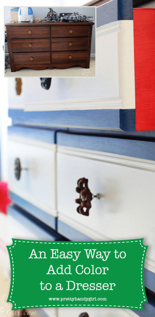 blue and white dresser with red sides