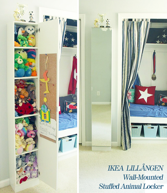 Wall-mounted IKEA LILLÅNGEN Mirrored Cabinet turned Stuffed Animal Storage | Pretty Handy Girl