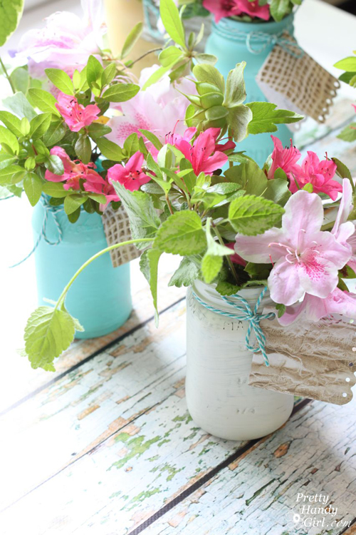 Farmhouse Painted (chalk like paint) Jar Vases | Pretty Handy Girl