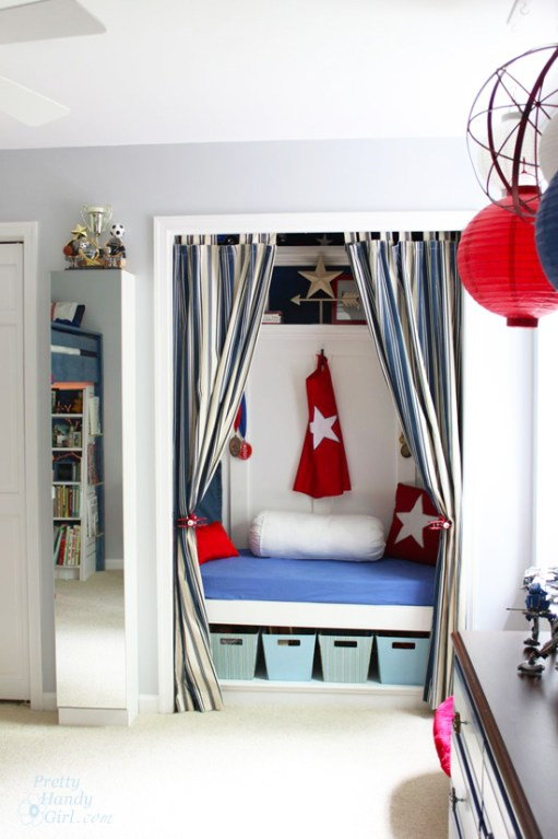Boy's Red, White & Blue Themed Room | Pretty Handy Girl